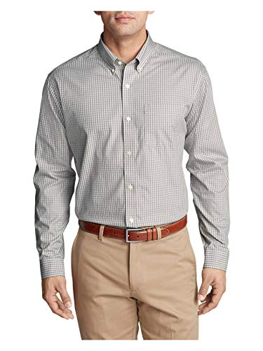 Eddie Bauer Men's Wrinkle-Free Pinpoint Oxford Classic Fit Long-Sleeve Shirt - S Chrome (Grey) - Long Sleeve Pinpoint Oxford Shirt