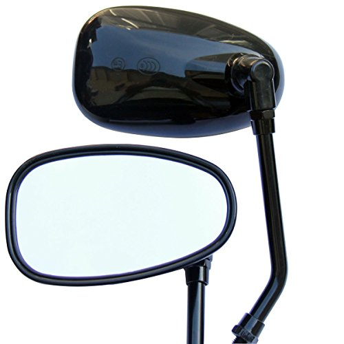 Black Oval Rear View Mirrors for 2007 Yamaha Stratoliner XV1900CT -  MotorToGo, MR510-Y1-07YamStratolinerXV1900CT