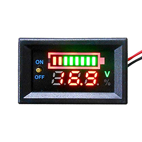 evergremmi 12V Car Battery Power Detection Digital Tester - Car Voltmeter Detection Battery Capacity Battery Electricity with LED Display Panel and Switch: