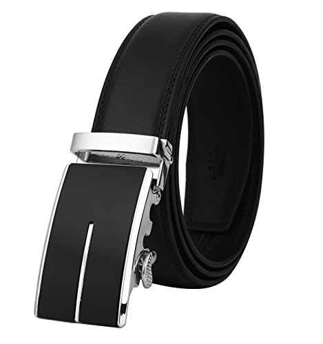 Lavemi Men's Real Leather Ratchet Dress Belt with Automatic Buckle,Elegant Gift -