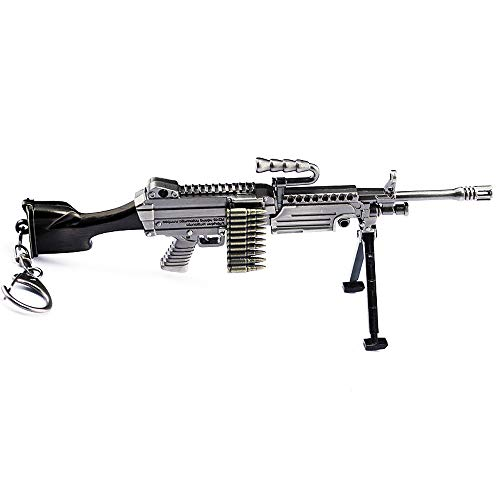 Survival Eat Chicken Games Metal 1/6 M249 Saw Antiaircraft Machine Gun Model Action Figure Arts Toys Collection Keychain Gift