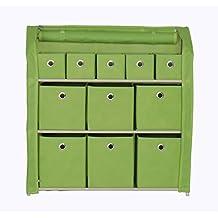 "Homebi Multi-Bin Storage Organizer Cabinet Unit with Zipper Covered Foldable Bins and 3-Tier Sturdy Metal Shelf Frame in Green,31""W x 12"" D x 32""H"