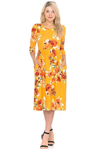 iconic luxe Women's Fit and Flare Midi Dress with Pockets Large Floral Mustard -
