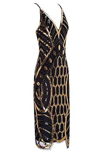 Metme Mujeres Años 20 V cuello Sexy Correas Gatsby vestido de fiesta Vintage lentejuelas para la tarde fiesta de graduación: Amazon.es: Ropa y accesorios
