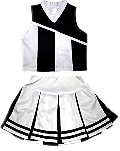 Little Girls' Cheerleader Cheerleading Outfit Uniform Costume Cosplay White/Black (M / 5-8) for $<!--$44.95-->
