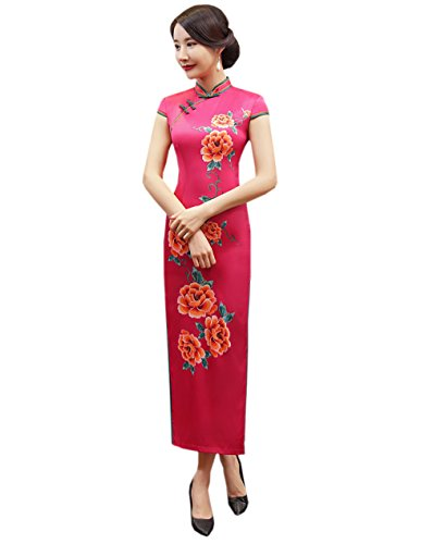 Red Donna Long Party Cenemony Acvip Qipao Robe Chinese Wedding Floral Cheongsam Oriental fHdxqwv