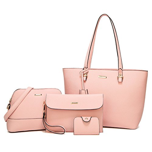 (ELIMPAUL Women Fashion Handbags Tote Bag Shoulder Bag Top Handle Satchel Purse Set 4pcs )