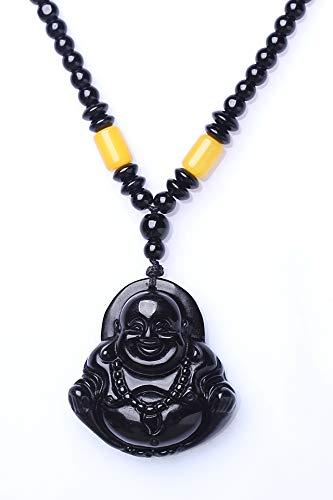 Pendants Women Girls Models Obsidian Necklace Pendant tatu Maitreya Buddha Laughing Send Girlfriend (Seated Buddha