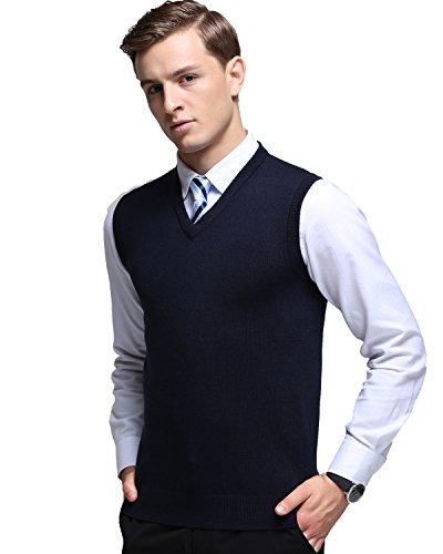 Kinlonsair Mens Casual Slim Fit Solid Lightweight V-Neck Sweater Vest,Blue,Medium(US) by Kinlonsair