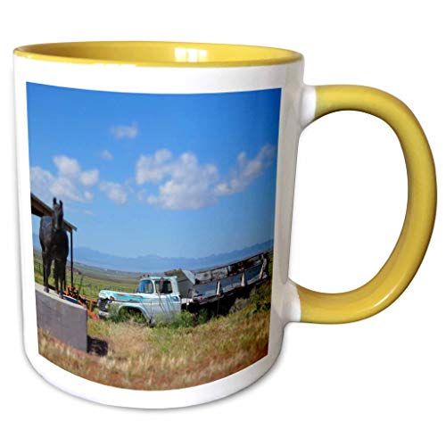 3dRose Jos Fauxtographee- Miniature Truck - A truck made to look mini with a tilt shift on a farm - 11oz Two-Tone Yellow Mug (mug_300905_8)