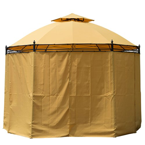 Outsunny Round Outdoor Patio Canopy Party Gazebo with Curtains, 11-Feet, Orange by Outsunny (Image #1)
