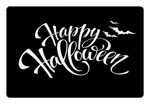 Lunarable Halloween Pet Mat for Food and Water, Monochrome Happy Halloween Seasonal Message and Flying Bats on Dark Background, Rectangle Non-Slip Rubber Mat for Dogs and Cats, Black White