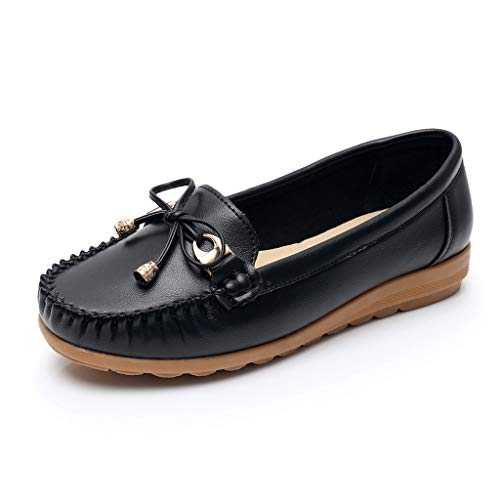 Toimothcn Women Penny Loafers Split Leather Slip-On Comfortable Driving Moccasins Flats Ballet ()