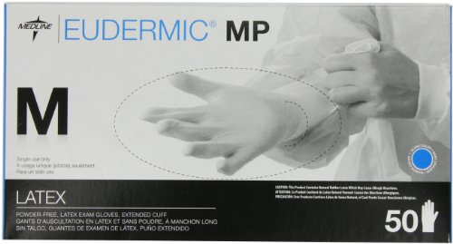 Medline Eudermic MP 12 Inches High Risk Exam Gloves, Medium, 50 Count by Medline