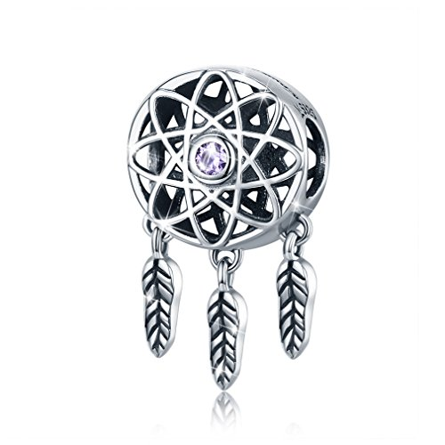 (LeeFeel Dream Catcher Charms 925 Sterling Silver Beads Charms with Feather Pendants Fits Bracelet & Choker)