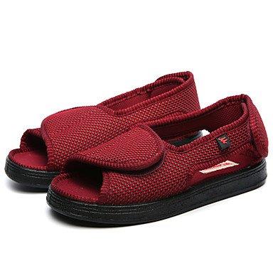RTRY Sandalias Unisex Comodidad Verano Otoño Casual Zapatos De Tela Exterior De La Oficina &Amp; Carrera Magic Talón Plano De Cinta Plana Negra De Borgoña US9.5 / EU42 / UK8.5 / CN43