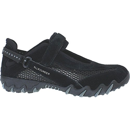 Allrounder by Mephisto NIRO Mary Jane Flat - Black Suede N/Open Mesh - Womens - 6.5