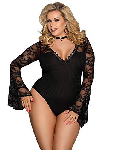 comeondear Women's Long Sleeve Sexy Lace Lingerie Teddy Deep V Neck Lace Bodysuit Mini Bodysuit Black