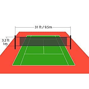 NKTM Outdoor Sports Classic Volleyball Net for Garden Schoolyard Backyard Beach (32 FT x 3 FT) Poles Not Included by NKTM