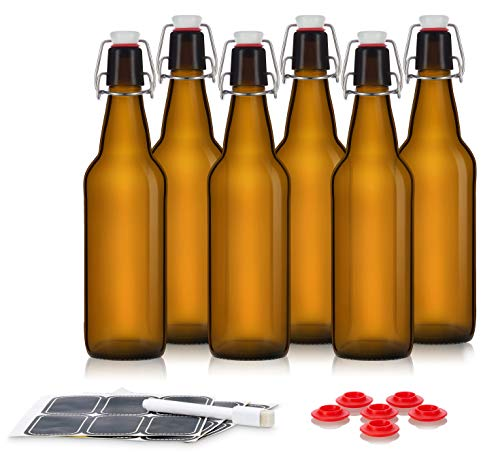 Swing Top Glass Bottles - Flip Top Bottles For Kombucha, Kefir, Beer - Amber Color - 16oz Size - Set of 6 Brewing Bottles - Leak Proof With Easy Caps - Bonus Gaskets - Fast Clean Design ()