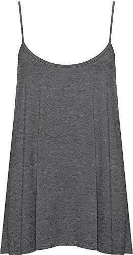 WearAll Plus Size Women's Strappy Swing Vest Top - Dark Gray - US 16-18 (UK 20-22)