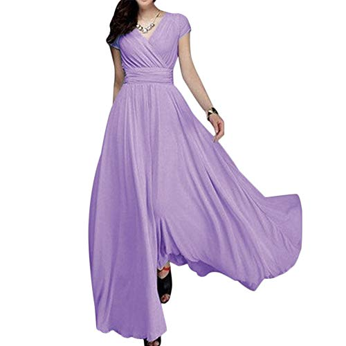Solid Chiffon V-Neck Cocktail Bridesmaid Evening Party Gown Ball Prom Long Maxi Swing Dress Lilac XL ()