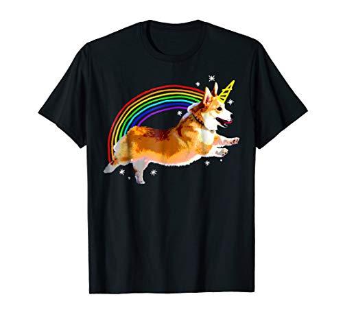 Unicorn Corgi Rainbow Doodle Funny Graphic T-Shirt