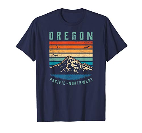 (Oregon Retro T Shirt | Vintage Portland Home State Mountains)