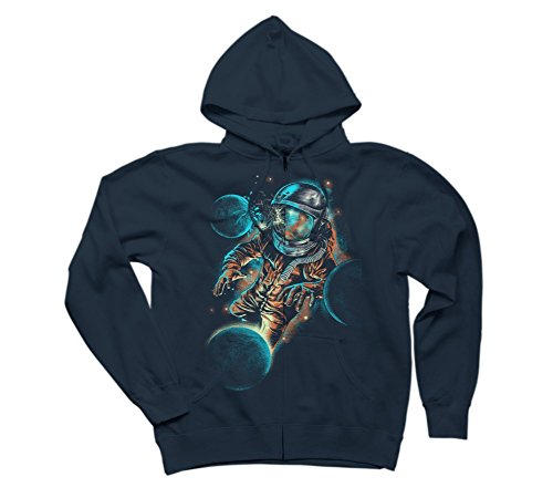 space impact Men's Small Navy Graphic Zip Hoodie - Design By Humans