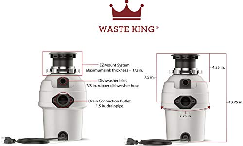 Waste King 3/4 HP Garbage Disposal with Power Cord - (L-3200). by Waste King (Image #4)