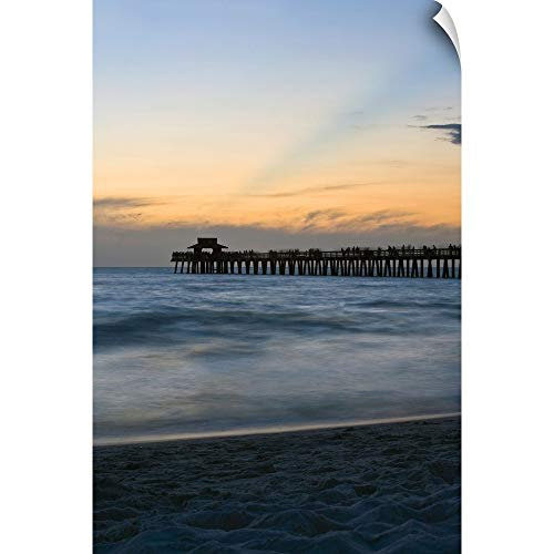 CANVAS ON DEMAND Florida, Naples, Beach and Naples Pier at Sunset Wall Peel Art Print, 24
