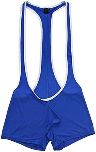 メンズ皮ひも、ブリーフ メンズランジェリーレオタード下着はボディスーツレスリングシングレット男性のセクシーな背中の開いたレスリング気を付けろソフトフリースタイルスムース 男性のための (Color : Blue, Size : M)