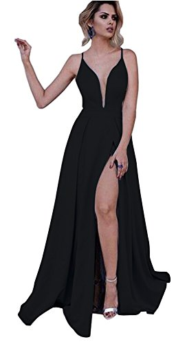 Long Blue Neck Prom V Straps Line Light Side Dress Deep Slit Black A Spaghetti Dressylady 8wRqP7