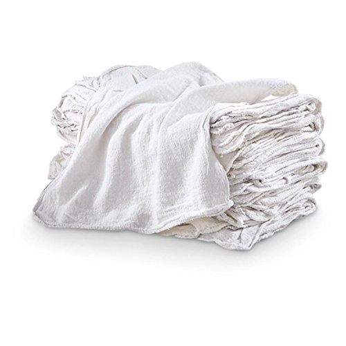 MHF Brand Shop Towels-Premium A GRADE-14x14 Inch-New 100% Cotton (100, White) ()