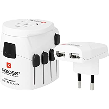 SKROSS PRO PLUS USB World Adapter Dual USB White 1.302500