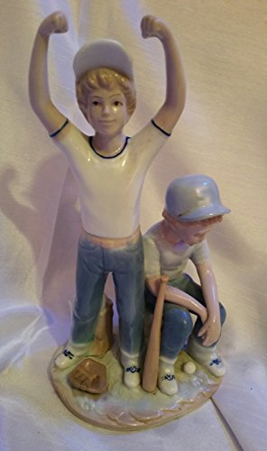 Paul Sebastian 1989 The Boys of Summer Baseball Players Figurine Home Run Sports Softball Statue Porcelain Ceramic Glazed Original Collectible  Blue White Victory Defeat Baseball Player Figurine