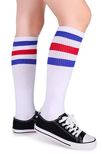 2c04b835c0b Pareberry Classical Triple Stripes Soft Cotton Over-the-Calf Retro Tube  Socks