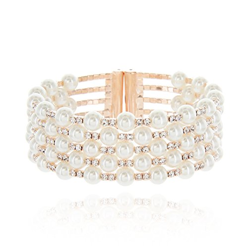 SP Sophia Collection Multi Strands Pearl & Rhinestone Bangle Bracelet Cuff in Rose Gold ()