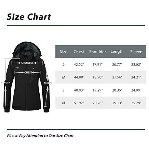 Wantdo Women s Waterproof Ski Fleece Jacket Windproof Winter Coat Hooded  Raincoat Insulated Mountain Windbreaker 9816e9560