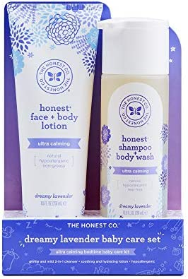 The Honest Company 2-Piece Dreamy Lavender Shampoo + Body Wash (10 Fl. Oz) & Face + Body Lotion (8.5 Fl. Oz.) Bundle Tear Free Naturally Derived Ingredients Sulfate & Paraben Free Baby Bath