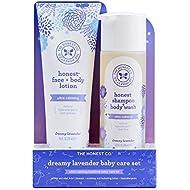 The Honest Company 2-Piece Dreamy Lavender Shampoo + Body Wash (10 fl. oz) & Face + Body Lotion (8.5 fl. oz.) Bundle | Tear Free | Naturally Derived Ingredients | Sulfate & Paraben Free Baby Bath