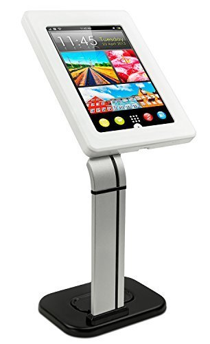 Mount-It! MI-3781 Tablet Stand for POS and Kiosk Use, Desk or Table Mount, Anti-Theft, Locking, iPad Tablet Holder for Apple iPad 2, 3, 4, Air and Samsung Tablet Sizes 10.1 In, White and Silver (Ipad Rfid Reader)