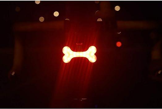BINGFENG Luz de Bicicleta Bicicleta de montaña Luces traseras señalización Nocturna Advertencia Intermitente Bicicleta luz Trasera Hueso: Amazon.es: Deportes y aire libre