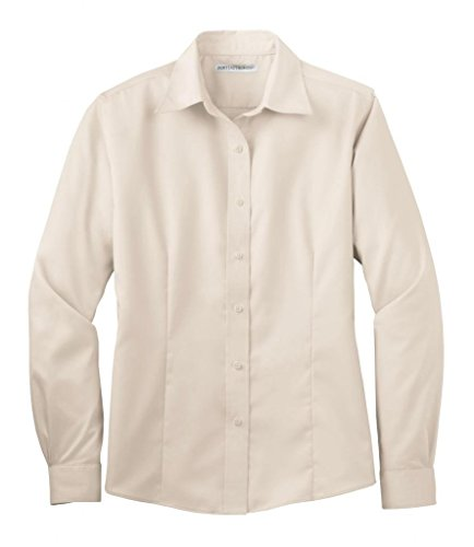 Port Authority Women's Long Sleeve Non Iron Twill Shirt-Light Stone-1X ()