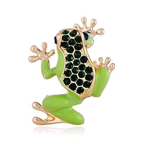 SKZKK Animal Series Enamel Pin,Green Frog Crystal Diamond Brooch Pins for Clothing Alloy Plating Painted ()