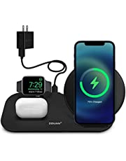 $24 » DDUAN Wireless Charger, 3 in 1 Qi Fast Charging Station Dock Compatible for Apple Watch, AirPods Pro/1/2, Charging Stand for iPhone 12/11/Pro/Max/XR/XS/XS Max/X /8/8 Plus/Samsung(18W Adapter Included)