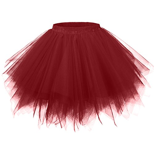 - Girstunm Women's 1950s Vintage Petticoats Bubble Tutu Dance Half Slip Skirt Dark Red 2XL