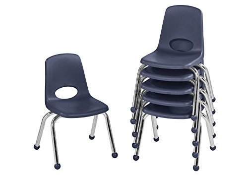 """ECR 12"""" School Stack Chair, Chrome Legs with Ball Glides,..."""