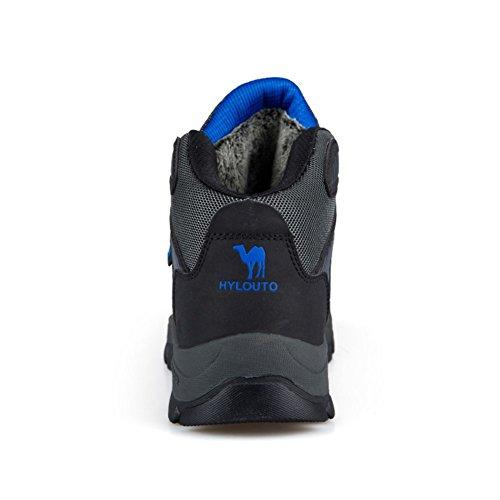 Showlovein Herren Wanderschuhe Baumwolle Schneestiefel Outdoor Wasserdicht Gleitsicher Stiefel mit Perfekter Dampfung Dicker Grau