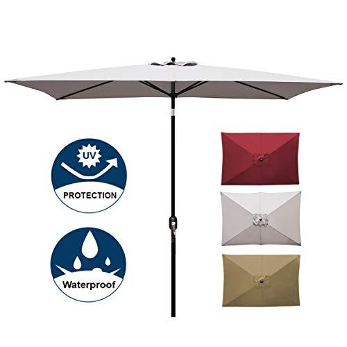 Blissun Rectangular Patio Umbrella Outdoor Market Table Umbrella with Push Button Tilt and Crank, 6.5 by 10 Ft (Grey) ()